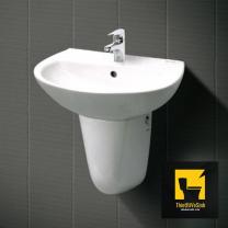 Chậu lavabo treo tường sứ trắng Navier NV-404